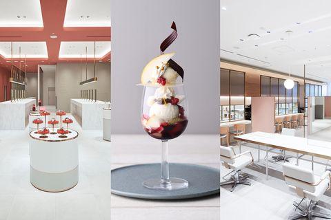 Interior design, Table, Glass, Ice cream, Frozen dessert, Architecture, Building, Furniture, Dairy, Dessert,