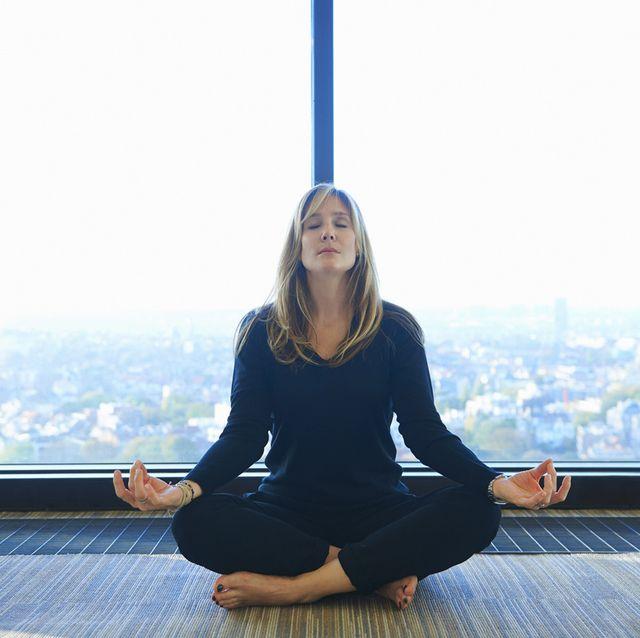 sitting, meditation, physical fitness, yoga, photography, smile, floor,