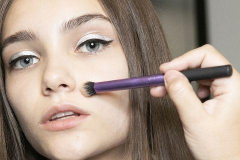 Eyebrow, Face, Lip, Skin, Nose, Cheek, Eye, Eyelash, Eye shadow, Purple,