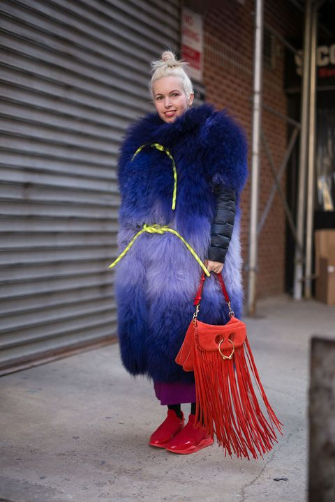 Blue, Fur, Clothing, Red, Electric blue, Street fashion, Fashion, Cobalt blue, Textile, Outerwear,
