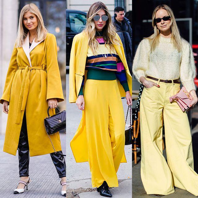 Clothing, Street fashion, Yellow, Fashion, Fashion model, Outerwear, Overcoat, Footwear, Coat, Trousers,