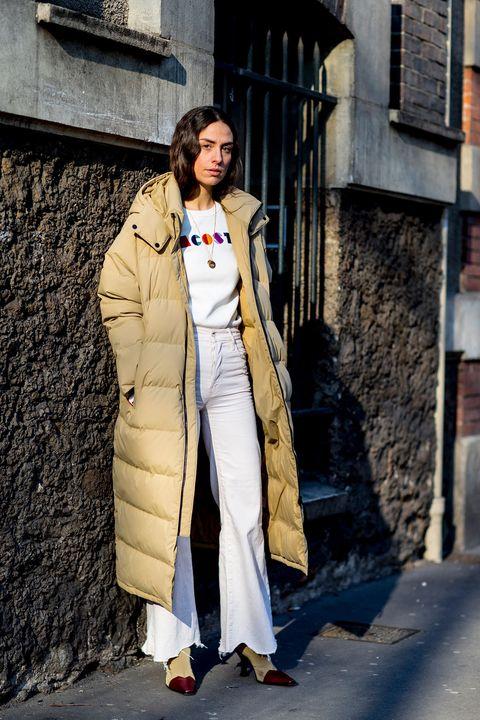 Clothing, Trench coat, Street fashion, White, Coat, Fashion, Outerwear, Snapshot, Overcoat, Fashion design,