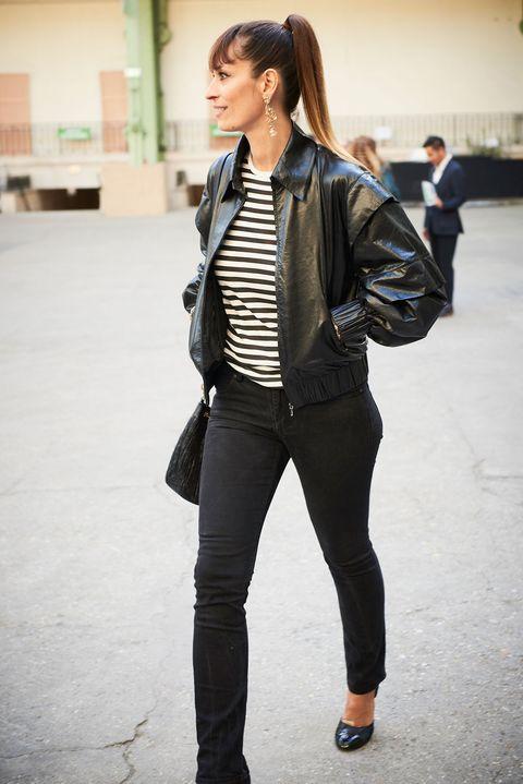 Clothing, Street fashion, Black, White, Jeans, Fashion, Jacket, Snapshot, Outerwear, Shoulder,