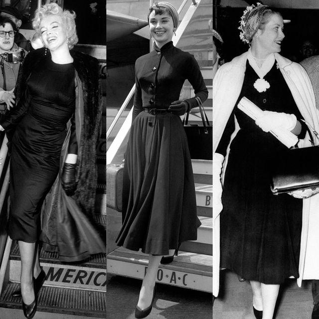 Clothing, Dress, Fashion, Little black dress, Retro style, Black-and-white, Vintage clothing, Fashion design, Formal wear, Coat,
