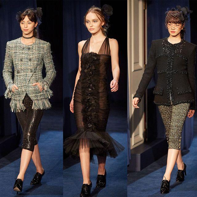 Fashion model, Clothing, Fashion, Dress, Cocktail dress, Haute couture, Runway, Footwear, Shoulder, Neck,