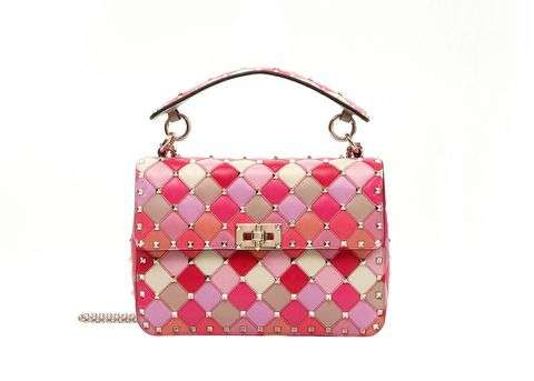 Handbag, Bag, Pink, Shoulder bag, Fashion accessory, Magenta, Material property, Pattern, Peach, Luggage and bags,