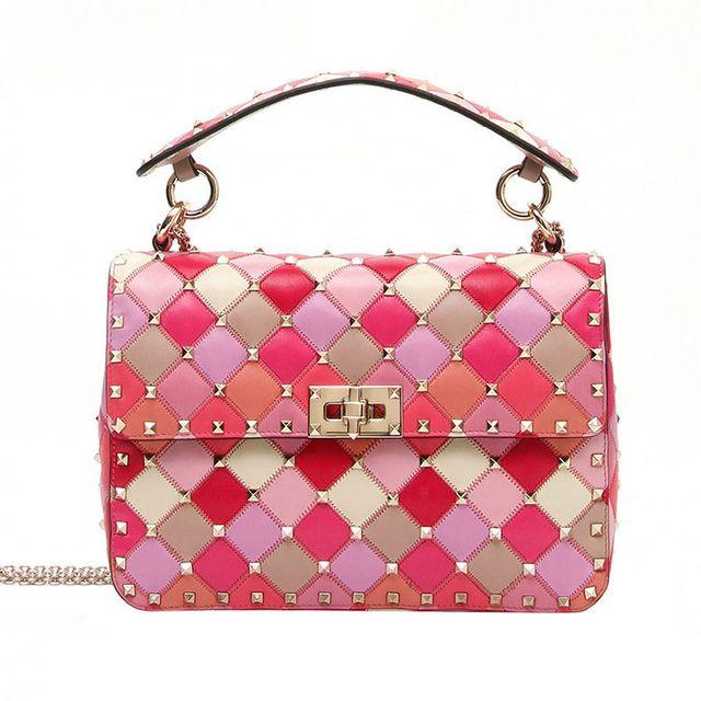 Handbag, Bag, Pink, Shoulder bag, Fashion accessory, Magenta, Material property, Pattern, Peach, Pattern,