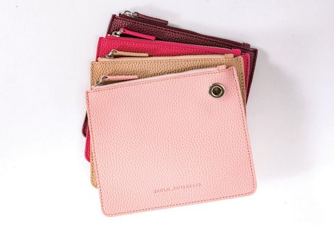 Pink, Wallet, Fashion accessory, Magenta, Leather, Coin purse, Material property, Zipper, Beige, Bag,