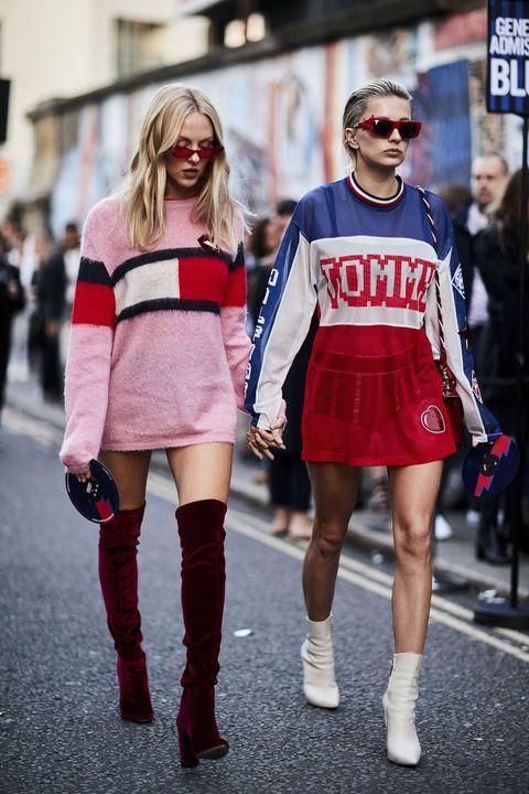 Street fashion, Clothing, Fashion, Red, Eyewear, Footwear, Snapshot, Knee, Joint, Sunglasses,