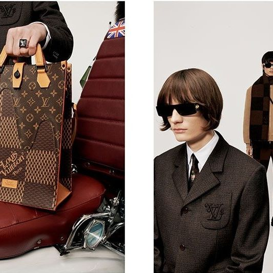 Fashion, Brown, Eyewear, Leather, Suit, Footwear, Outerwear, Baggage, Tie, Luggage and bags,