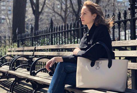 Sitting, Street fashion, Beauty, Fashion, Spring, Winter, Lip, Shoulder, Blond, Photography,