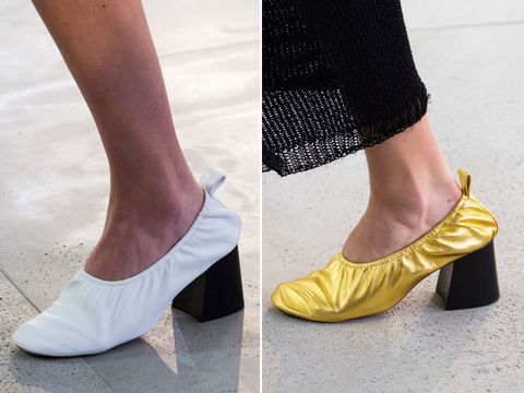 Footwear, Shoe, Yellow, High heels, Ankle, Leg, Fashion, Court shoe, Street fashion, Human leg,