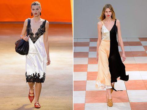 Fashion model, Clothing, Fashion, Runway, Dress, Fashion show, Footwear, Fashion design, Shoulder, Sandal,