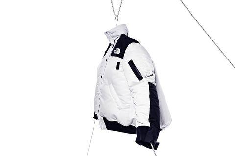 White, Clothing, Outerwear, Jacket, Sleeve, Hood, Coat, Black-and-white,
