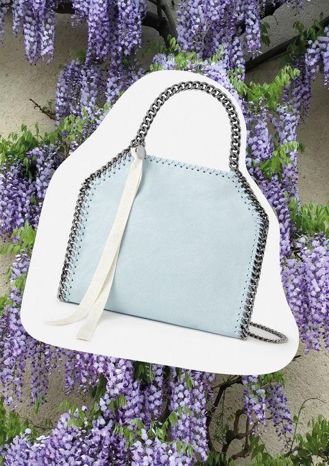 Lavender, Purple, Violet, Lilac, Bag, Handbag, Fashion accessory, Plant, Flower, Diaper bag,