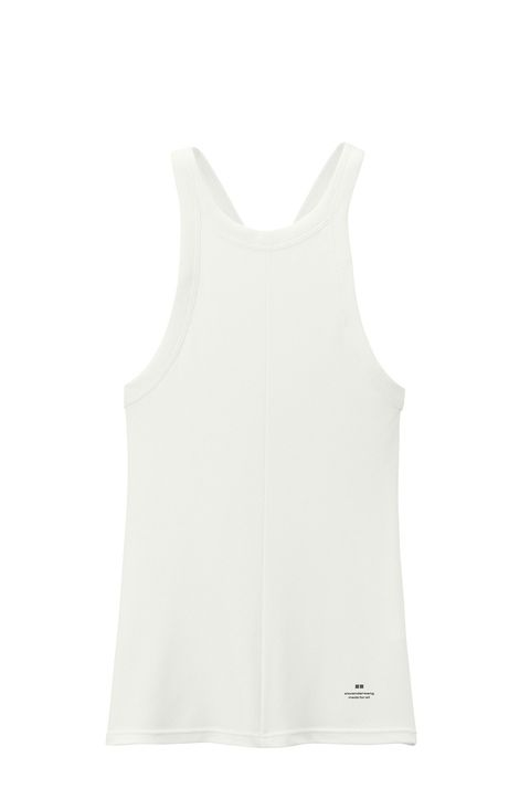 White, Clothing, Sleeveless shirt, camisoles, Outerwear, Undergarment, Sportswear, Neck, Active tank, Undershirt,