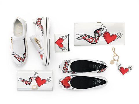 Red, Shoe, Carmine, Fashion, Walking shoe, Brand, Fashion design, Silver, Coquelicot, Ballet flat,