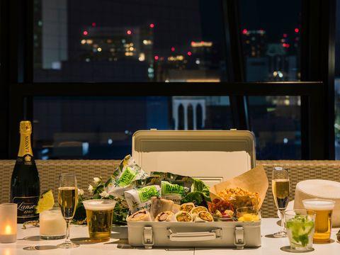 Meal, Restaurant, Dinner, Wine glass, Stemware, À la carte food, Glass, Glass bottle, Banquet, Wine,