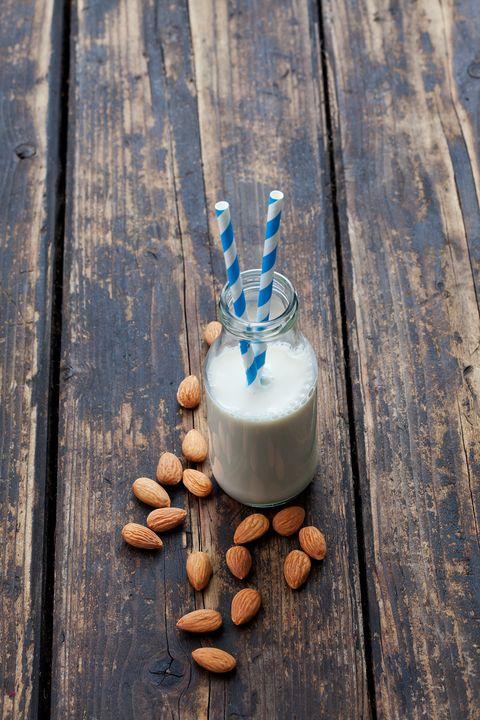 Wood, Food, Almond milk, Plant, Dairy, Still life photography,