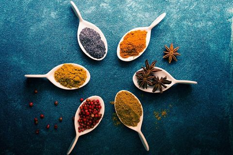 Spice, Spice mix, Chili powder, Food, Garam masala, Superfood, Spoon, Still life photography, Ingredient, Cuisine,