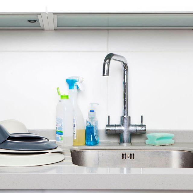 Tap, Sink, Bathroom sink, Turquoise, Room, Tile, Countertop, Plumbing fixture, Bathroom, Material property,