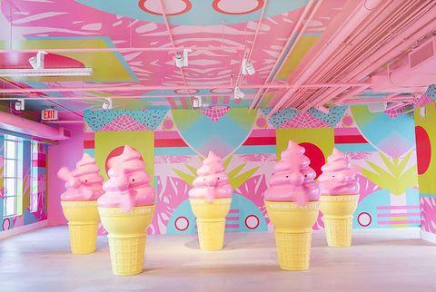 Ice cream cone, Ice cream, Frozen dessert, Pink, Soft Serve Ice Creams, Dessert, Cone, Dairy, Food, Gelato,