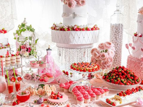 Decoration, Pink, Christmas decoration, Food, Sweetness, Confectionery, Table, Plant, Dessert, Peach,