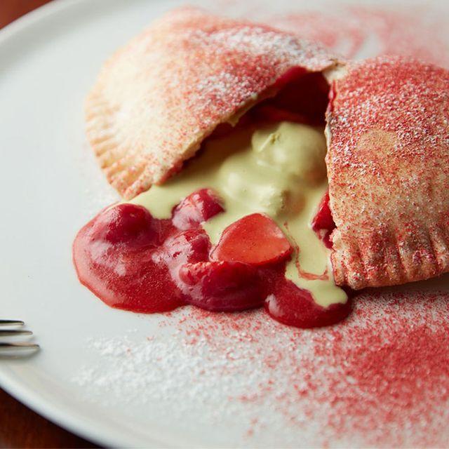 Dish, Food, Cuisine, Ingredient, Dessert, Produce, Baked goods, Strawberry, Dampfnudel, Strawberries,