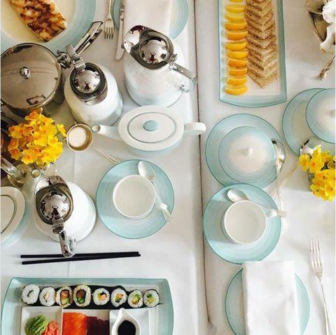 Dishware, Plate, Yellow, Dinnerware set, Meal, Brunch, Tableware, Breakfast, Food, Porcelain,