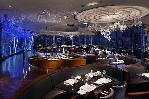 Ceiling, Lighting, Interior design, Room, Restaurant, Light fixture, Design, Chandelier, Building, Architecture,