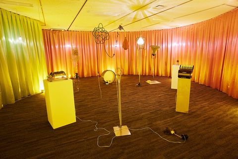 Yellow, Lighting, Function hall, Room, Ceiling, Interior design, Building, Floor, Flooring, Light fixture,
