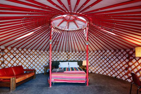 Red, Yurt, Room, Building, Ceiling, Furniture, Architecture, Interior design, House, Shade,