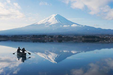 Reflection, Sky, Stratovolcano, Mountain, Mountainous landforms, Lake, Cloud, Volcanic landform, Mountain range, Shield volcano,