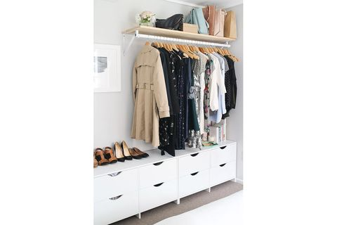 Clothes hanger, Shelf, Furniture, Room, Closet, Wardrobe, Shelving, Drawer, Cupboard, Chest of drawers,