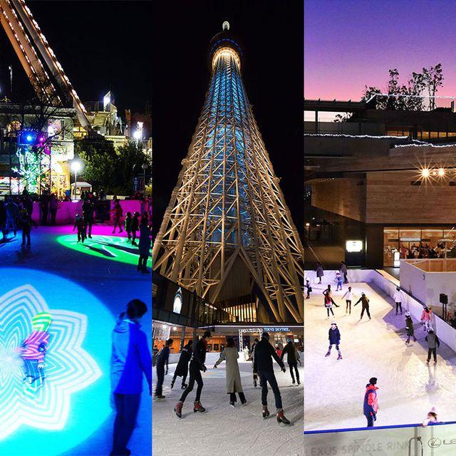 Landmark, Ice skating, Ice rink, Architecture, Lighting, Skating, Sky, Winter, Tree, Christmas lights,
