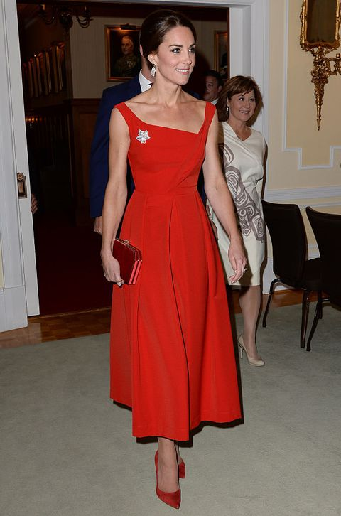 Clothing, Dress, Shoulder, Joint, Red, Standing, One-piece garment, Formal wear, Style, Floor,
