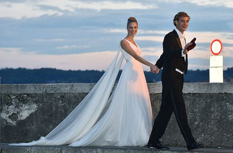 Coat, Trousers, Dress, Photograph, Suit, Outerwear, Standing, Formal wear, Happy, Bridal clothing,