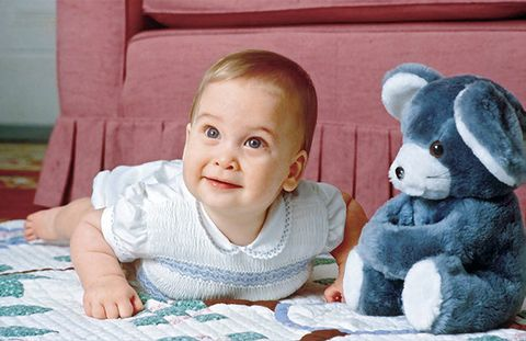 Child, Toddler, Skin, Organ, Baby, Ear, Smile, Room, Stuffed toy, Happy,