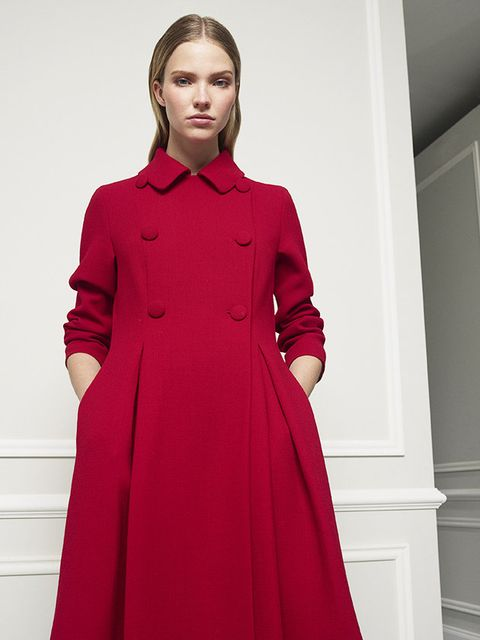 Clothing, Red, Coat, Overcoat, Fashion, Fashion model, Dress, Outerwear, Neck, Trench coat,