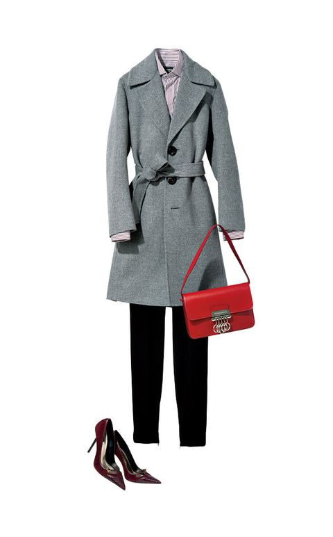 Clothing, Coat, Trench coat, Overcoat, Outerwear, Standing, Suit, Formal wear, Sleeve, Collar,