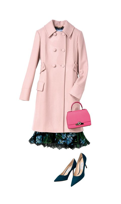 Clothing, Pink, Trench coat, Coat, Footwear, Fashion, Outerwear, Sleeve, Collar, Dress,