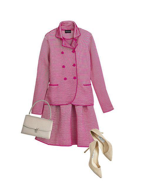 Clothing, Pink, Sleeve, Outerwear, Footwear, Magenta, Coat, Trench coat, Robe, Nightwear,
