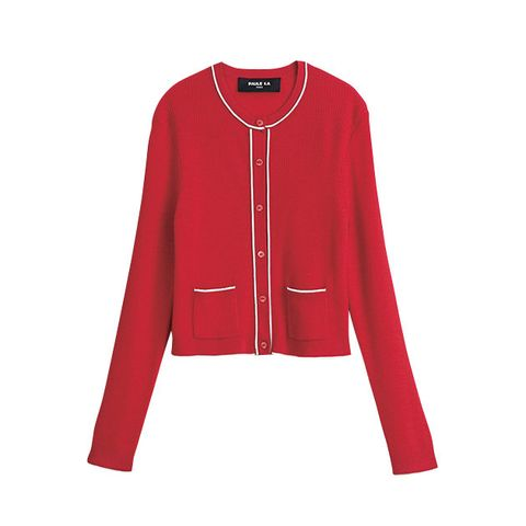 Clothing, Outerwear, Sleeve, Red, Jacket, Cardigan, Neck, Sweater, Button, Zipper,