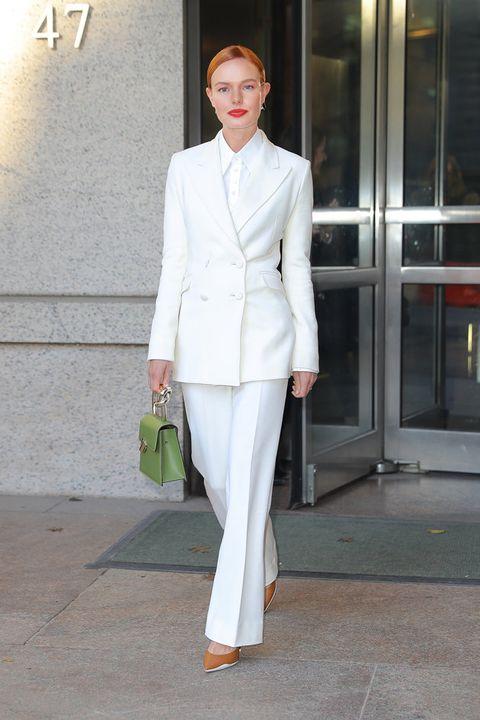 Suit, Clothing, White, Formal wear, Pantsuit, Fashion, Street fashion, Outerwear, Blazer, Tuxedo,