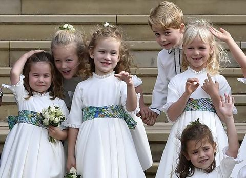 Child, Ceremony, Dress, Event, Bridal party dress, Sibling, Hair accessory, Bridal clothing, Headpiece, Wedding,