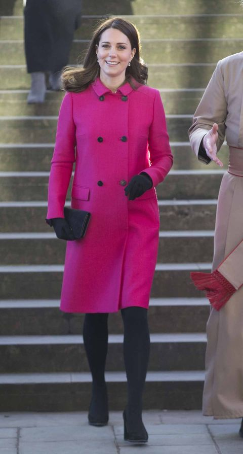 Clothing, Pink, Coat, Overcoat, Fashion, Outerwear, Trench coat, Street fashion, Magenta, Footwear,