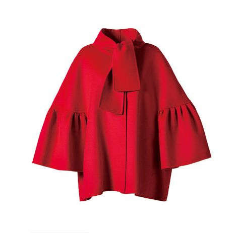 Clothing, Outerwear, Red, Pink, Cape, Magenta, Sleeve, Costume, Coat, Poncho,