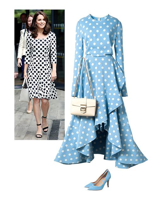 Clothing, White, Pattern, Blue, Polka dot, Dress, Fashion, Design, Day dress, Sleeve,