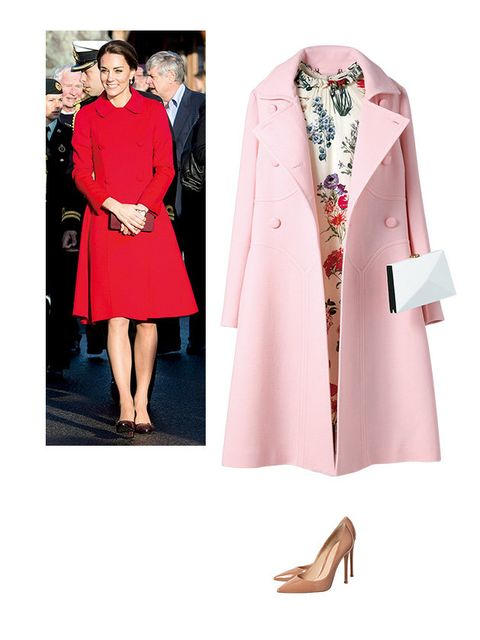Clothing, Pink, Coat, Outerwear, Red, Trench coat, Overcoat, Formal wear, Dress, Fashion,