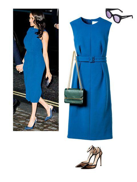 Clothing, Blue, Dress, Cobalt blue, Shoulder, Day dress, Turquoise, Electric blue, Cocktail dress, Fashion model,